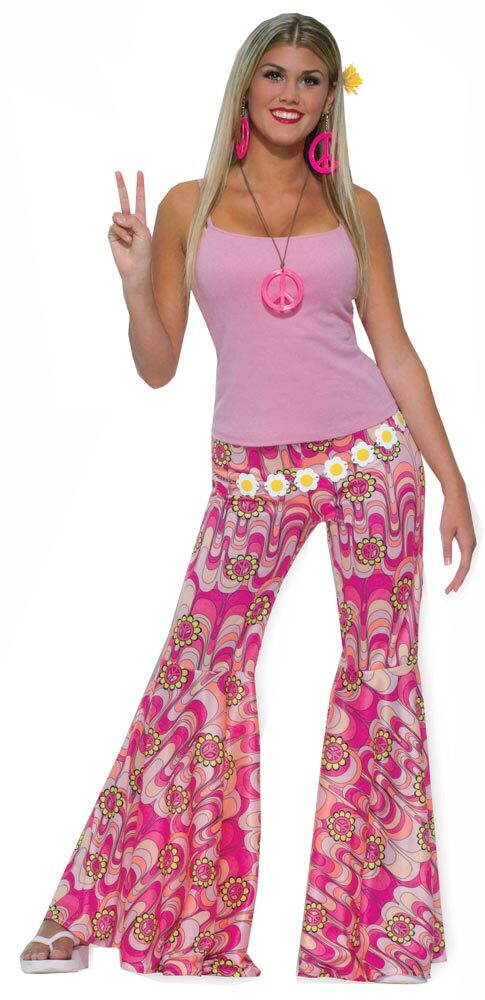 Womens pink flower power hippie pants mr costumes mightylinksfo