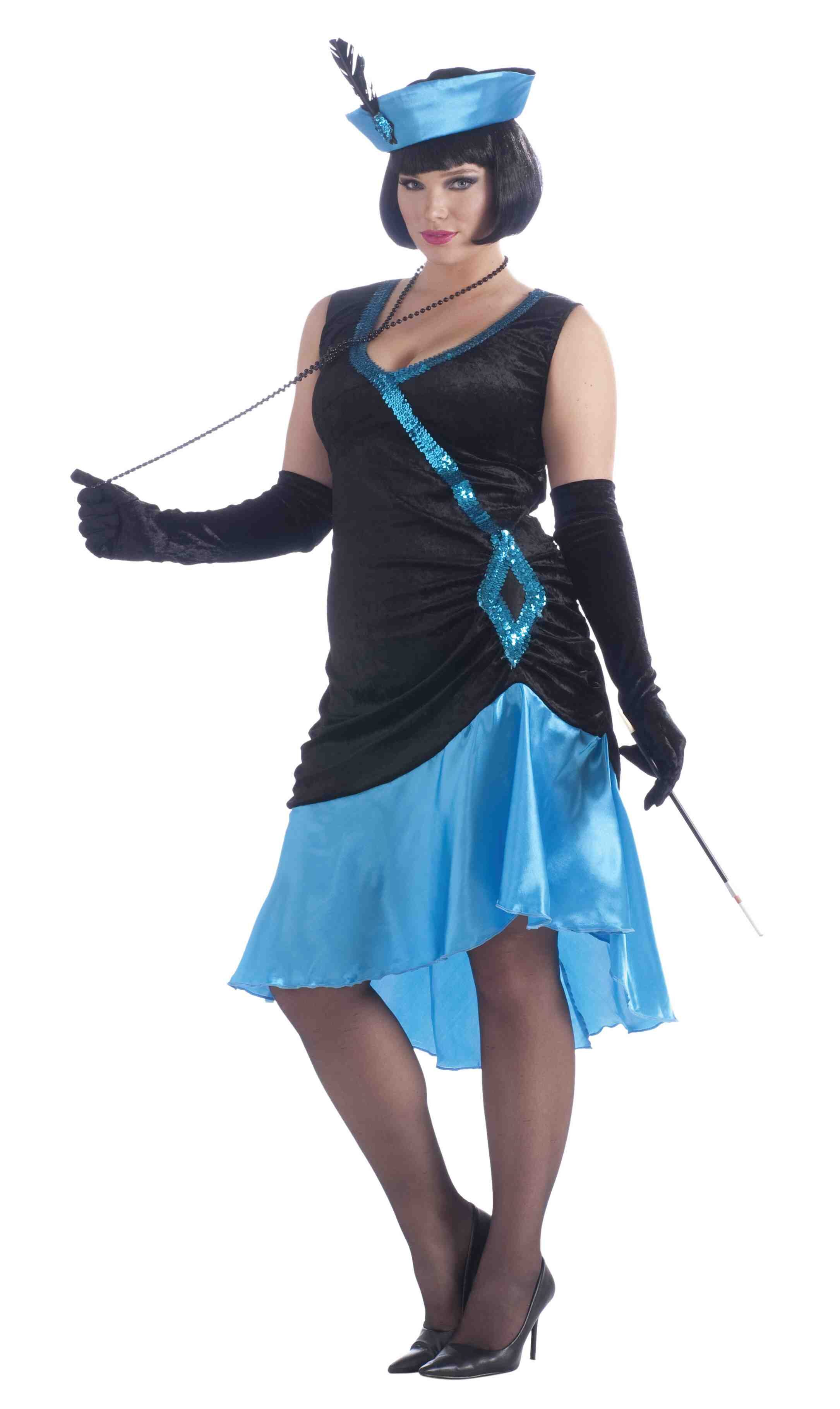 1920s Betty Blue Flapper Plus Size Costume - Mr. Costumes