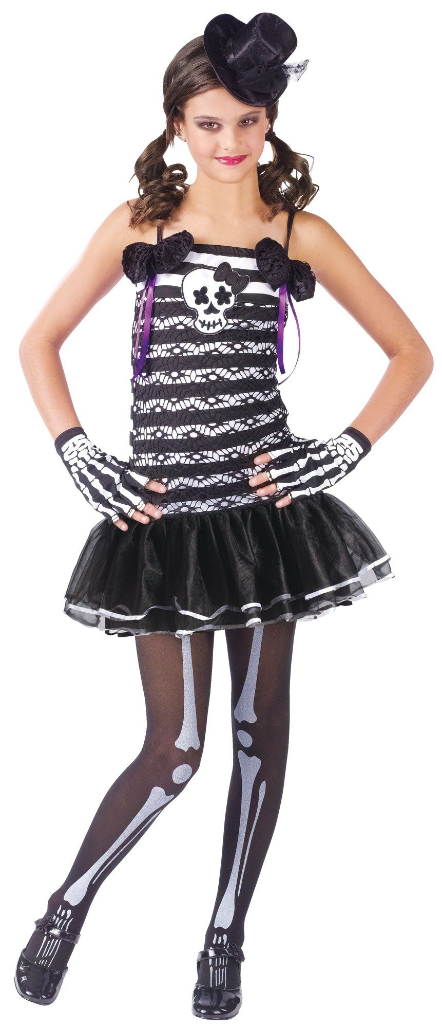 Baby and toddler skeleton costumes are complete straight out of the package, already accessorized with hoods, masks, or shoe covers; kids costumes are also nearly complete, but may require the purchase of shoes or wigs to match the look in the photo shown.
