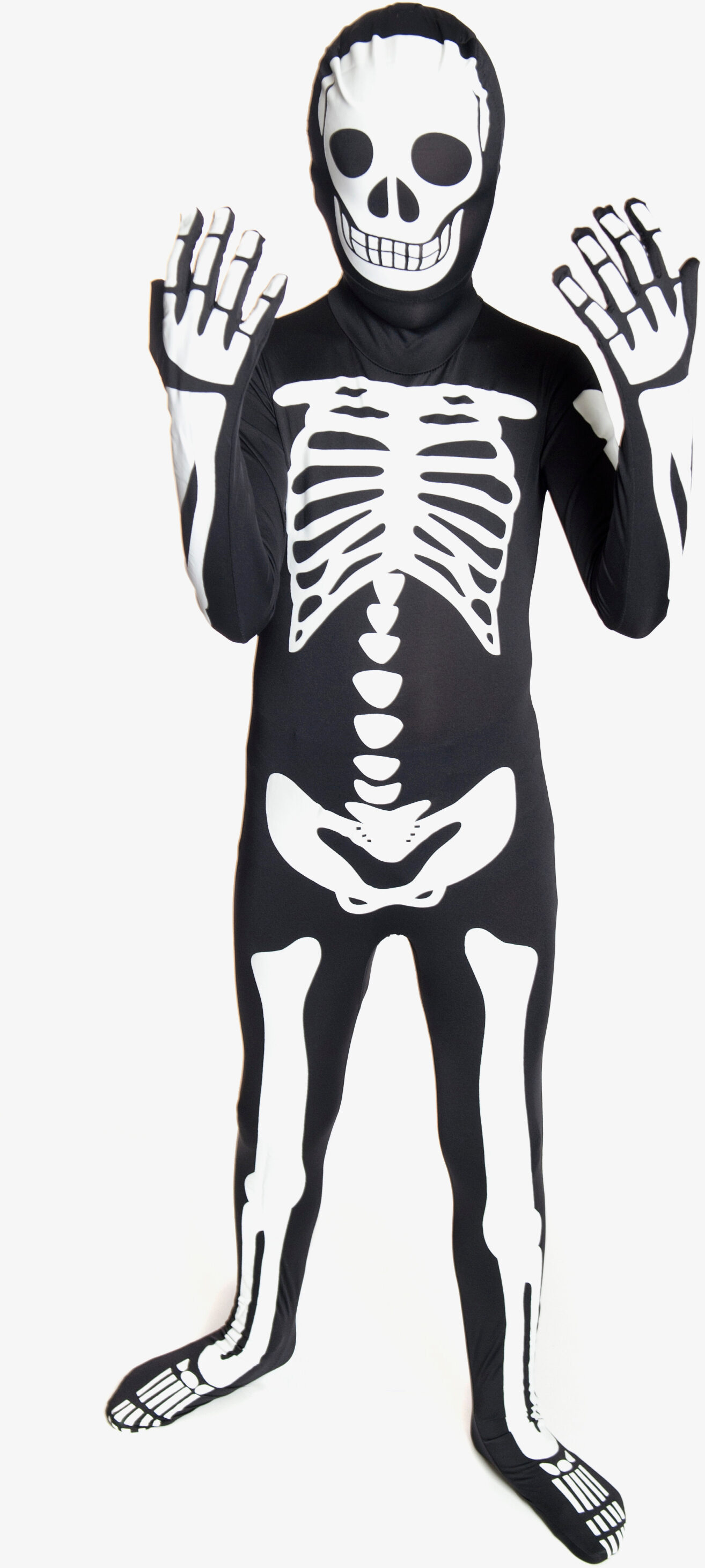 glow in the dark skeleton morphsuit kids costume mr