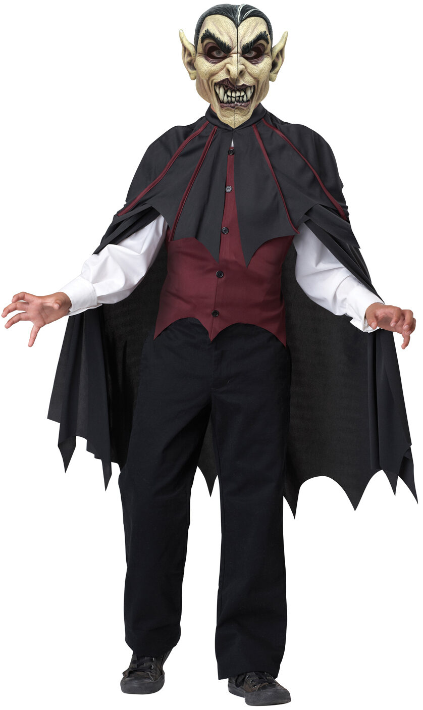 Kids Costumes - This Super Deluxe Gothic Vampire Costume features the velvet vest with attached shirt sleeves, dickie shirt front with scarf collar, full-length lined satin cape, pants and the medallion on a ribbon. Also includes a deluxe garment bag.5/5(1).