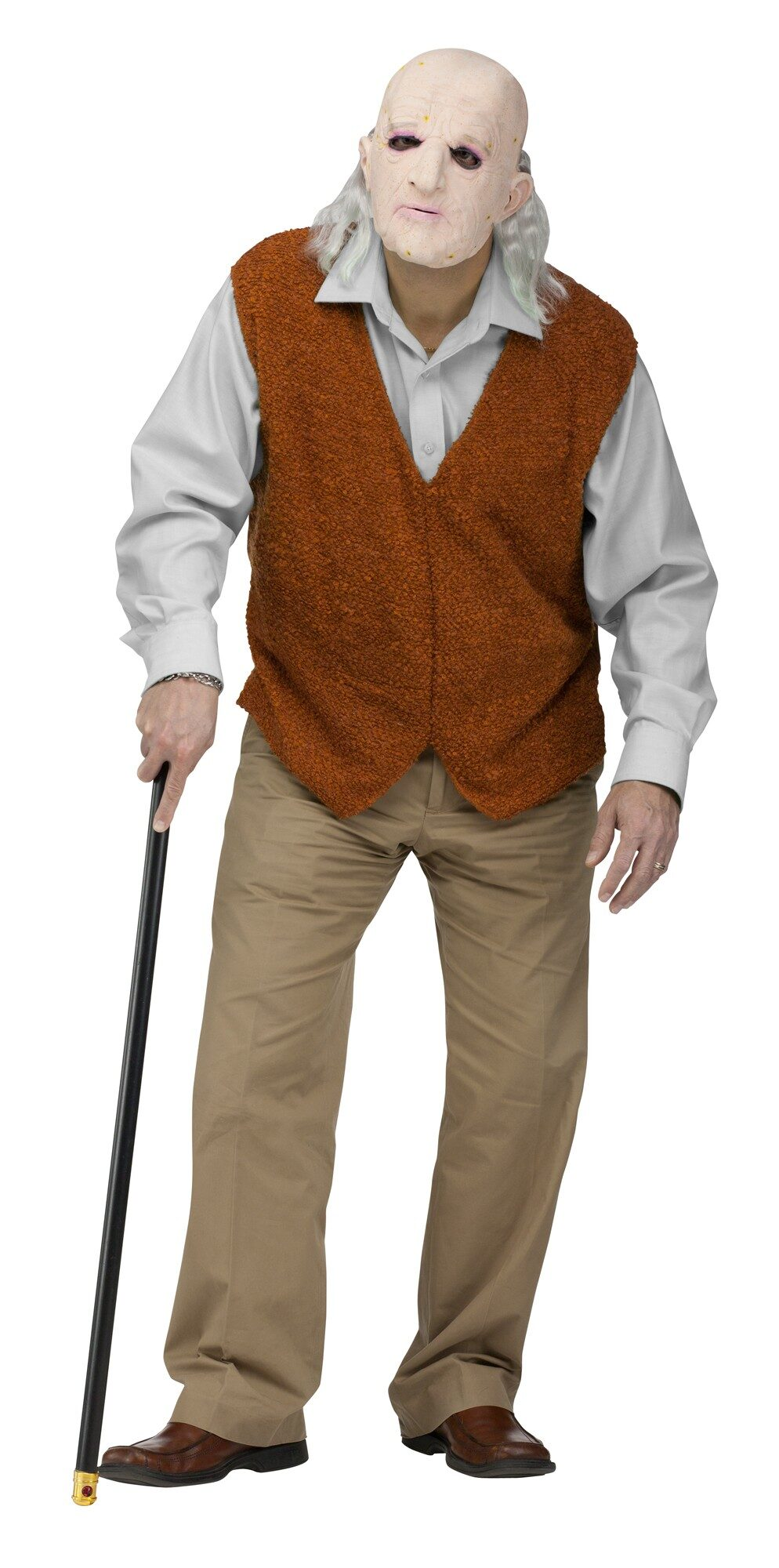 Boys Grandpa Costume includes: Jumpsuit; Wig; More on Boys Grandpa Costume: He'll turn 70 instantly with this Grandpa Costume! He won't have to worry about pulling up his britches — this costume is a jumpsuit. The shirt, pants, and bow tie are all attached for a convenient one-piece costume.
