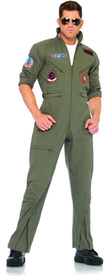 Mens Flight Suit Top Gun Costume