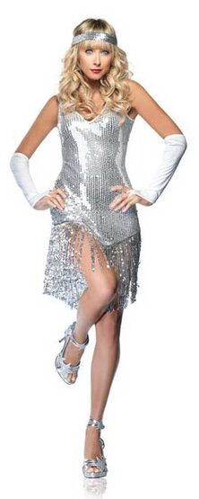 Sexy Sequin Dress Silver Flapper Costume