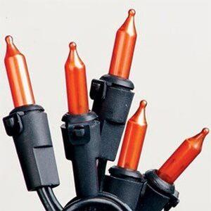 "50 Pumpkin Mini Lights - 6"""" Spacing, Black Wire, Premium Grade"