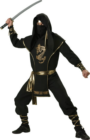 Mens Black Ninja Warrior Adult Costume