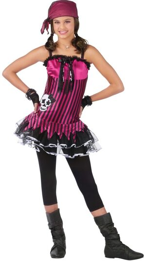 Teen Rockin Skull Girls Pirate Costume
