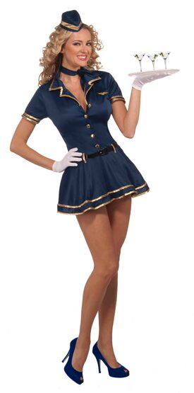 Sexy Blue and Gold Flying High Stewardess Costume