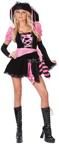 Womens Pink Punk Sexy Pirate Costume