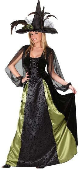 Womens Adult Maiden Gothic Witch Costume