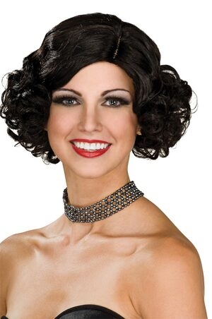 Adult Black Hair Flapper Wig