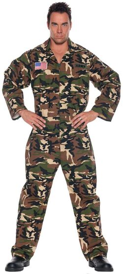 Mens Adult Army Jumpsuit Costume
