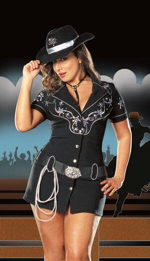 Sexy Rhinestone Plus Size Cowgirl Costume