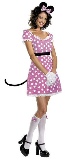 Womens Sassy Pink Adult Minnie Mouse Costume