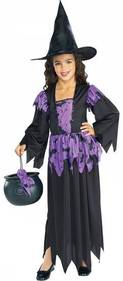 Girls Purple Bat Witch Kids Costume