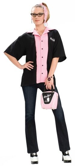Womens Queen Pins Bowling Shirt 50s Costume