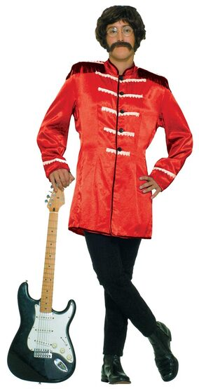 Mens Red British Explosion Adult 60s Costume