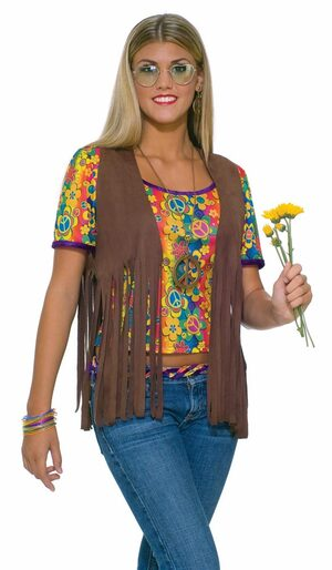 Adult Womens Hippie Fringe Vest