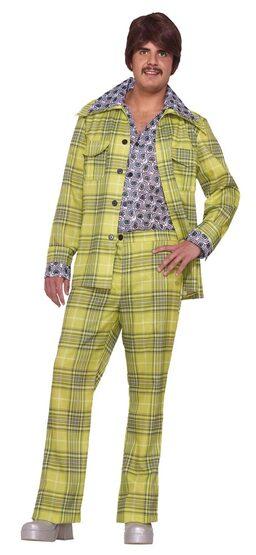 Mens Plaid Leisure Suit 70s Disco Costume