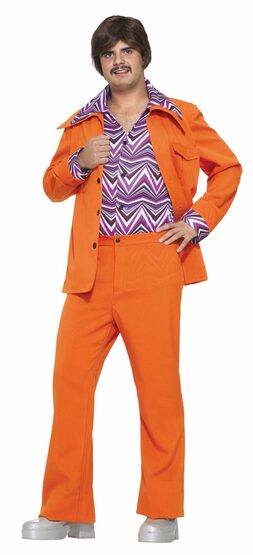 Mens Orange Leisure Suit Adult 70s Disco Costume