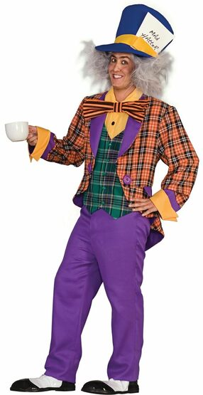 Adult Mens Crazed Mad Hatter Costume