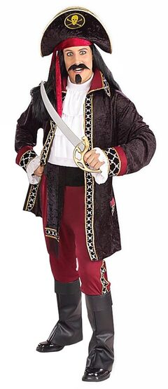 Mens Black Heart Adult Pirate King Costume