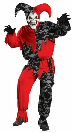 Adult Sinister Jester Scary Clown Costume