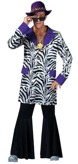 Mens Zebra Zoot Suit Pimp Costume