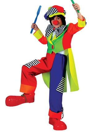 Boys Spanky Stripes Kids Clown Costume