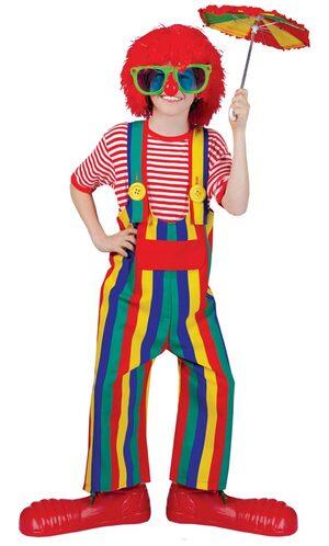 Child Striped Clown Costume Overalls
