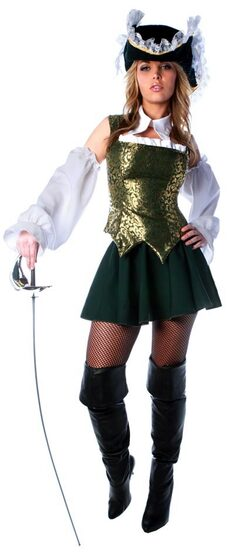 Womens Sexy Green Musketeer Costume