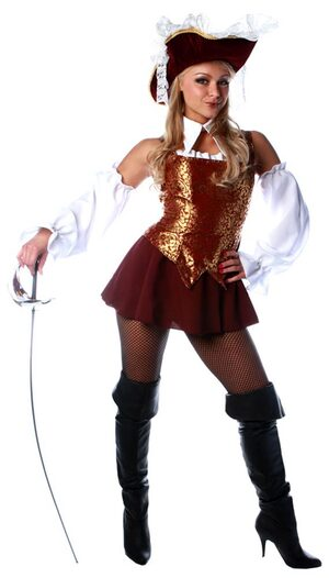 Womens Sexy Burgundy Musketeer Costume
