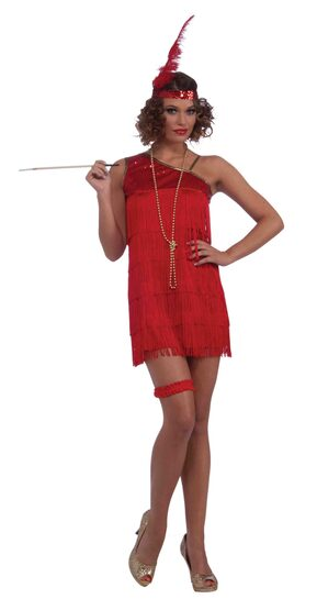 Sexy 20s Ruby Dazzle Flapper Dress Costume