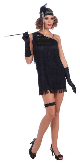 Sexy Black Diamond Dazzle Flapper Dress Costume
