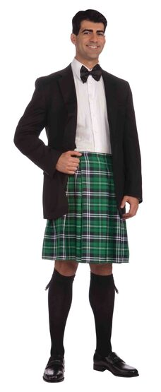 Mens Green Scottish Kilt Adult Costume