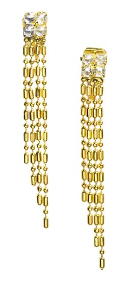 Womens Gold Dangle Flapper Earrings