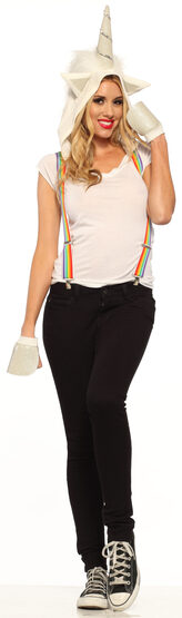 Rainbow Suspender Unicorn Headpiece Adult Costume