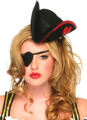 Sequin Trimmed Pirate Hat and Heart Shaped Eye Patch