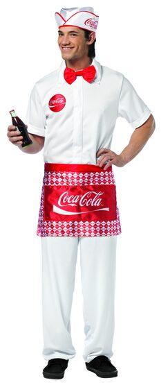 Coca Cola Soda Jerk 50s Adult Costume