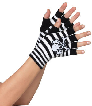 Black and White Striped Skull and Crossbone Fingerless Gloves