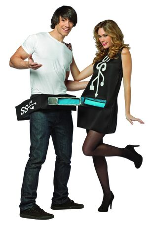 USB Port n Stick Couples Funny Adult Costume
