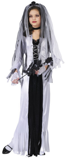 Girls Skeleton Corpse Bride Kids Costume