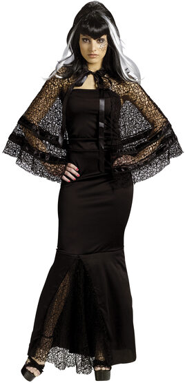 Womens Widow Web Cape with Velvet Trim