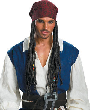 Adult Jack Sparrow Pirate Wig and Headband