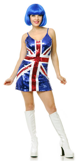 Sexy 60s British Sequin Dress Costume