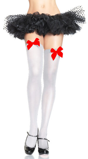 White Thigh High with Red Bow Stocking