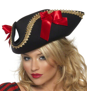 Womens Tricorn Pirate Hat with Red Bows