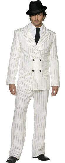 Mens White Coat Gangster Adult Costume
