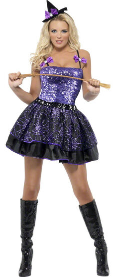 Sexy Purple Sequin Glimmer Witch Costume