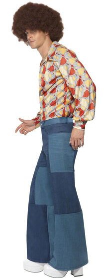 Mens Patchwork Flares 70s Bell Bottom Pants - Mr. Costumes